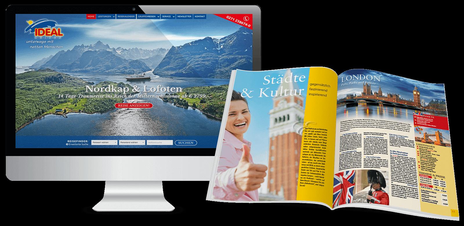 Reise-CMS und Katalog-Design